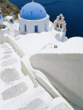 Blue Domed Church, Oia, Santorini, Cyclades Islands, Greece, Europe Photographic Print by Lee Frost