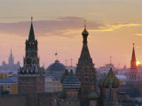 St. Basil&#39;s Cathedral and Kremlin, Moscow, Russia Photographic Print by Charles Bowman