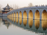 Seventeen Arch Bridge, Kunming Lake, Summer Palace, Beijing, China Photographic Print by Charles Bowman