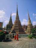 Wat Po and Monks, Bangkok, Thailand, Asia Photographic Print by G Richardson