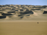 Sahara Desert with Lone Figure in Foreground, Amguid, Algeria, Africa Photographic Print by David Poole