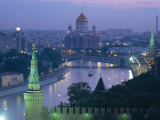 City Skyline and the Moskva River at Dusk, Moscow, Russia Photographic Print by Charles Bowman