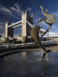Tower Bridge and the Girl with a Dolphin Sculpture, London, England Photographic Print by Amanda Hall