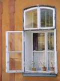 Window and Flower Pots, Tabor, South Bohemia, Czech Republic, Europe Photographic Print by Upperhall Ltd