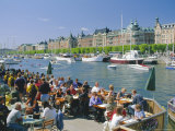 The Strandvagen Waterfront, Restaurants and Boats in the City Centre, Stockholm, Sweden Photographic Print by Duncan Maxwell