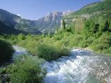 Torla, the River Ara and Distant Mondarruego, Huesca (Pyrenees), Aragon, Spain, Europe Photographic Print by Ruth Tomlinson