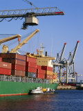 Crane Lifting Containers to and from Cargo Ship Photographic Print by Hans Peter Merten
