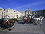 Neue Hofburg and Fiaker (Horse Drawn Carriages), Vienna, Austria, Europe Photographic Print by Hans Peter Merten