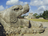 Serpent's Head at Bottom of Great Pyramid, Chichen Itza, Mayan Site, Mexico, Central America Photographic Print by Christopher Rennie