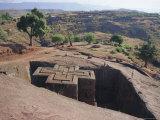 Bet Giorgis, Rock Cut Church, Lalibela, Ethiopia, Africa Fotografisk tryk af Julia Bayne