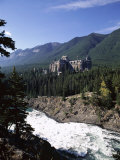 Bow River and Banff Springs Hotel, Banff National Park, Rocky Mountains, Alberta, Canada Photographic Print by Hans Peter Merten