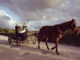 Traditional Mennonite Family with Pony and Trap, Camp 9, Shipyard, Belize, Central America Photographic Print by Upperhall Ltd