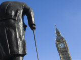 Big Ben and the Sir Winston Churchill Statue, Westminster, London Photographic Print by Amanda Hall