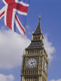 Big Ben and Union Jack Flag, Houses of Parliament, Westminster, London Photographic Print by Adina Tovy