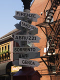 Signpost to Italian Cities, North End, &#39;Little Italy&#39;, Boston, Massachusetts, USA Photographic Print by Amanda Hall