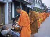 Novice Buddhist Monks Collecting Alms of Rice, Luang Prabang, Laos, Indochina, Southeast Asia, Asia Photographic Print by Upperhall Ltd
