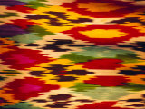 Detail of Traditional Rainbow Silk Dress, Bukhara, Uzbekistan, Central Asia Photographic Print by Upperhall Ltd