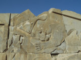Carving of Lion and Bull on Tripylon Staircase, Persepolis, Iran, Middle East Photographic Print by Christopher Rennie