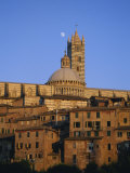Moon in the Sky Above Cathedral and Houses Clustered Below at Sunset, Siena, Tuscany, Italy, Europe Photographic Print by Ruth Tomlinson