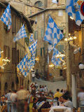 Palio Banquet for Members of the Onda (Wave) Contrada, Siena, Tuscany, Italy, Europe Photographic Print by Ruth Tomlinson