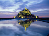 The Mount by Night Reflected in Water, Mont St. Michel, Manche, Normandy, France Photographic Print by Ruth Tomlinson