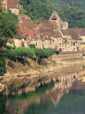 Village Reflected in the Water of the Dordogne River, La Roque-Gageac, Dordogne, Aquitaine, France Photographic Print by Ruth Tomlinson
