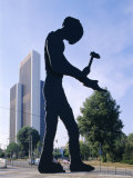 Hammering Man Sculpture, Frankfurt, Germany, Europe Photographic Print by Hans Peter Merten