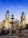 Fountain in Front of the Cathedral in Lima, Peru, South America Photographic Print by Charles Bowman