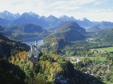 Neuschwanstein and Hohenschwangau Castles, Alpsee and Tannheimer Alps, Allgau, Bavaria, Germany Photographic Print by Hans Peter Merten