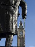 Big Ben Through Statue of Sir Winston Churchill, Westminster, London Photographic Print by Amanda Hall
