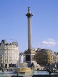 Nelson's Column and Fountains, Trafalgar Square, London, England, UK Fotografisk tryk af Roy Rainford