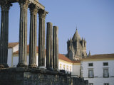 Roman Temple and Cathedral, Evora, Alentejo, Portugal, Europe Photographic Print by Firecrest Pictures