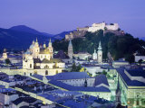 The Cathedral and Fortress Illuminated at Night in the Town of Salzburg, Austria Photographic Print by Roy Rainford