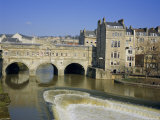 Pulteney Bridge Over the River Avon and Weir, Bath, UNESCO World Heritage Site, Avon, England, UK, Photographic Print