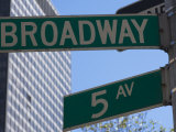Broadway and 5th Avenue Street Signs, Manhattan, New York City, New York, USA Photographic Print by Amanda Hall