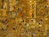 Close-up of Gold Jewelry in the Gold Souk, Deira, Dubai, United Arab Emirates, Middle East Photographic Print by Amanda Hall