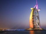 Sunset, Burj Al Arab Hotel, Dubai, United Arab Emirates, Middle East Photographic Print by Amanda Hall