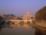 Dome of St. Peters and Skyline of the Vatican Above the Tiber River, Rome, Lazio, Italy, Europe, Photographic Print