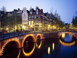 Lights on the Bridges at Night on the Keizersgracht in Amsterdam, Holland Photographic Print by Roy Rainford