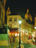 Cafes and Street at Night, Montmartre, Paris, France, Europe Photographic Print by Roy Rainford