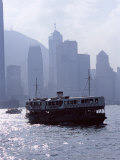 Star Ferry, Victoria Harbour, with Hong Kong Island Skyline in Mist Beyond, Hong Kong, China, Asia Photographic Print by Amanda Hall