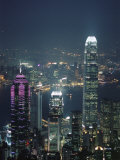 Two Ifc Building on Right and Skyline at Night, Hong Kong, China, Asia Photographic Print by Amanda Hall