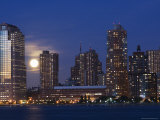 Full Moon Rising Over Lower Manhattan Skyline Across the Hudson River, New York City, New York, USA Photographic Print by Amanda Hall