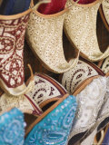 Curly Toed Slippers for Sale in Bur Dubai Souk, Dubai, United Arab Emirates, Middle East Photographic Print by Amanda Hall