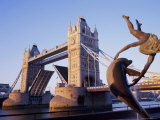 Tower Bridge and Bank-Side Fountain Sculpture, London, England, UK Photographic Print by Roy Rainford