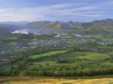 Keswick and Derwentwater from Latrigg Fell, Lake District National Park, Cumbria, England, UK Fotografisk tryk af Roy Rainford
