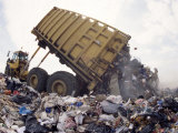 Lorry Arrives at Waste Tipping Area at Landfill Site, Mucking, London Photographic Print by Louise Murray