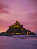 Mont Saint-Michel (Mont St. Michel) at Sunset, La Manche Region, Normandy, France, Europe Photographic Print by Roy Rainford