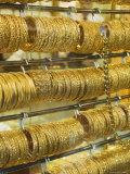 Gold Bangles in the Gold Souk, Deira, Dubai, United Arab Emirates, Middle East Photographic Print by Amanda Hall