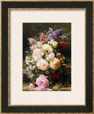 Still Life with Roses, Syringas and a Blue Tit on a Mossy Bank Framed Giclee Print by Jean Baptiste Claude Robie
